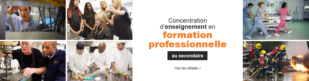 Concentration d'enseignement en formation professionnelle au secondaire